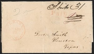 Sale Number 1230, Lot Number 1077, The Sandford N. Arnold Collection of Early Texas Postal HistoryAlbany N.Y. Mar. 29 (ca. 1838), Albany N.Y. Mar. 29 (ca. 1838)