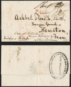 Sale Number 1230, Lot Number 1078, The Sandford N. Arnold Collection of Early Texas Postal HistoryNew-York Oct. 1 (ca 1839), New-York Oct. 1 (ca 1839)