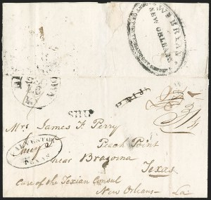 Sale Number 1230, Lot Number 1079, The Sandford N. Arnold Collection of Early Texas Postal History,