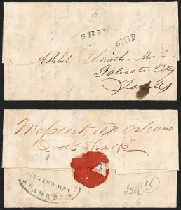 Sale Number 1230, Lot Number 1085, The Sandford N. Arnold Collection of Early Texas Postal HistoryHouston to Galveston Tex., Missent to New Orleans, Houston to Galveston Tex., Missent to New Orleans