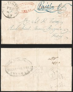 Sale Number 1230, Lot Number 1087, The Sandford N. Arnold Collection of Early Texas Postal HistoryGALVESTON TEXAS MAR. 19 (1841), GALVESTON TEXAS MAR. 19 (1841)