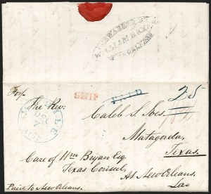 Sale Number 1230, Lot Number 1090, The Sandford N. Arnold Collection of Early Texas Postal HistoryFORWARDED BY WILLIAM BRYAN NEW=ORLEANS, FORWARDED BY WILLIAM BRYAN NEW=ORLEANS