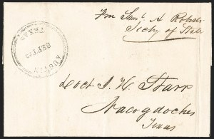 Sale Number 1230, Lot Number 1099, The Sandford N. Arnold Collection of Early Texas Postal HistoryAustin Texas Sept. 23 (1841), Austin Texas Sept. 23 (1841)