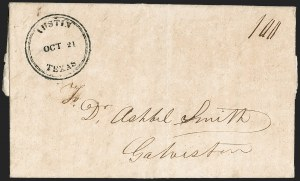 Sale Number 1230, Lot Number 1100, The Sandford N. Arnold Collection of Early Texas Postal HistoryAustin Texas Oct. 21 (1841), Austin Texas Oct. 21 (1841)