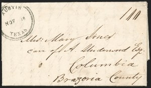 Sale Number 1230, Lot Number 1101, The Sandford N. Arnold Collection of Early Texas Postal HistoryAustin Texas Nov. 18 (1841), Austin Texas Nov. 18 (1841)