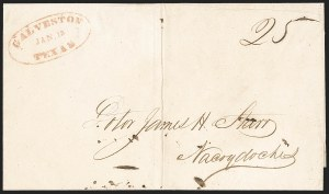 Sale Number 1230, Lot Number 1104, The Sandford N. Arnold Collection of Early Texas Postal HistoryGALVESTON TEXAS JAN. 13 (1845), GALVESTON TEXAS JAN. 13 (1845)
