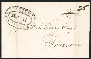 Sale Number 1230, Lot Number 1105, The Sandford N. Arnold Collection of Early Texas Postal HistoryHOUSTON *** TEXAS *** May. 31 (1839), HOUSTON *** TEXAS *** May. 31 (1839)