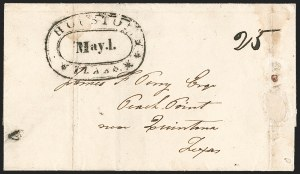 Sale Number 1230, Lot Number 1106, The Sandford N. Arnold Collection of Early Texas Postal HistoryHOUSTON *** TEXAS *** May 1 (1839), HOUSTON *** TEXAS *** May 1 (1839)