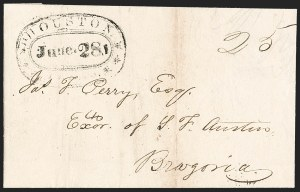 Sale Number 1230, Lot Number 1107, The Sandford N. Arnold Collection of Early Texas Postal HistoryHOUSTON *** TEXAS *** June 28 (1839), HOUSTON *** TEXAS *** June 28 (1839)