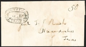 Sale Number 1230, Lot Number 1109, The Sandford N. Arnold Collection of Early Texas Postal HistoryHOUSTON *** TEXAS *** Oct. 16 (1840), HOUSTON *** TEXAS *** Oct. 16 (1840)
