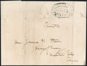 Sale Number 1230, Lot Number 1110, The Sandford N. Arnold Collection of Early Texas Postal HistoryHOUSTON *** TEXAS *** June 5 (1840), HOUSTON *** TEXAS *** June 5 (1840)