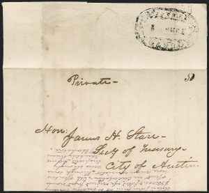 Sale Number 1230, Lot Number 1112, The Sandford N. Arnold Collection of Early Texas Postal HistoryHOUSTON *** TEXAS *** June 1 (1840), HOUSTON *** TEXAS *** June 1 (1840)