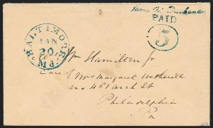 Sale Number 1230, Lot Number 1116, Postmasters' ProvisionalsBaltimore, Maryland, 5c Blue on Buff entire (3XU1), Baltimore, Maryland, 5c Blue on Buff entire (3XU1)