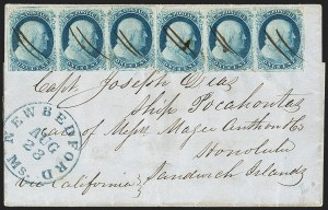 Sale Number 1230, Lot Number 1210, 1851-56 and 1857-60 Issues Covers1c Blue, Ty. II (7), 1c Blue, Ty. II (7)