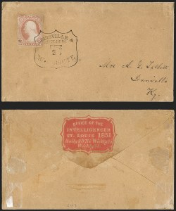 Sale Number 1230, Lot Number 1224, 1851-56 and 1857-60 Issues Covers3c Dull Red, Ty. II (11A), 3c Dull Red, Ty. II (11A)