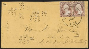 Sale Number 1230, Lot Number 1233, 1851-56 and 1857-60 Issues Covers3c Dull Red, Ty. II, Chicago Perf 12-1/2 (11A var), 3c Dull Red, Ty. II, Chicago Perf 12-1/2 (11A var)