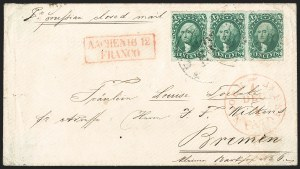 Sale Number 1230, Lot Number 1241, 1851-56 and 1857-60 Issues Covers10c Green, Ty. IV-II-II (16-14-14), 10c Green, Ty. IV-II-II (16-14-14)