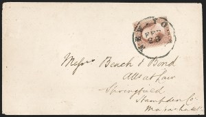 Sale Number 1230, Lot Number 1244, 1851-56 and 1857-60 Issues Covers3c Pale Claret, Ty. I (25), 3c Pale Claret, Ty. I (25)