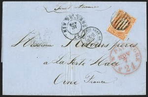 Sale Number 1230, Lot Number 1256, 1851-56 and 1857-60 Issues Covers30c Orange (38), 30c Orange (38)