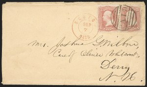 Sale Number 1230, Lot Number 1257, 1861-68 and 1869 Pictorial Issues Covers3c Rose Pink (64b), 3c Rose Pink (64b)
