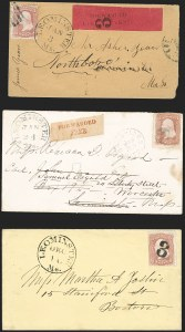 Sale Number 1230, Lot Number 1259, 1861-68 and 1869 Pictorial Issues Covers3c Rose (65), 3c Rose (65)