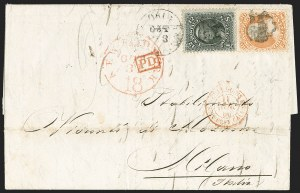 Sale Number 1230, Lot Number 1262, 1861-68 and 1869 Pictorial Issues Covers30c Orange (71), 30c Orange (71)