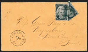 Sale Number 1230, Lot Number 1268, 1861-68 and 1869 Pictorial Issues Covers2c Black, Diagonal Half Used as 1c (73a), 2c Black, Diagonal Half Used as 1c (73a)