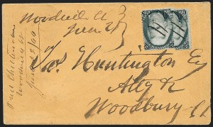 Sale Number 1230, Lot Number 1269, 1861-68 and 1869 Pictorial Issues Covers2c Black, Vertical Half Used as 1c (73d), 2c Black, Vertical Half Used as 1c (73d)