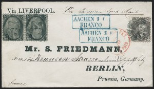 Sale Number 1230, Lot Number 1270, 1861-68 and 1869 Pictorial Issues Covers2c Black (73), 2c Black (73)