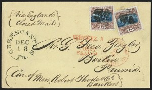 Sale Number 1230, Lot Number 1294, 1861-68 and 1869 Pictorial Issues Covers15c Brown & Blue, Ty. II (119), 15c Brown & Blue, Ty. II (119)
