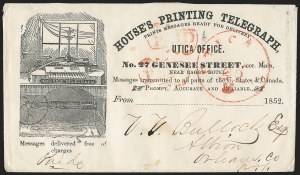 Sale Number 1230, Lot Number 1351, Postal History Group LotsHouse's Printing Telegraph, Pictorial Designs, House's Printing Telegraph, Pictorial Designs