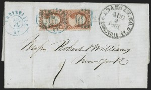 Sale Number 1230, Lot Number 1477, Civil War: Express MailAdams Ex. Co. * Louisville, Ky. * Aug. 2, 1861, Adams Ex. Co. * Louisville, Ky. * Aug. 2, 1861