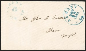 Sale Number 1230, Lot Number 1482, Confederate Postmasters' ProvisionalsAlbany Ga., 5c Greenish Blue entire (3XU1), Albany Ga., 5c Greenish Blue entire (3XU1)