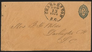 Sale Number 1230, Lot Number 1486, Confederate Postmasters' ProvisionalsCharleston S.C., 5c Blue on Orange entire (16XU3), Charleston S.C., 5c Blue on Orange entire (16XU3)