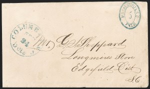 Sale Number 1230, Lot Number 1487, Confederate Postmasters' ProvisionalsColumbia S.C., 5c Blue entire (18XU1), Columbia S.C., 5c Blue entire (18XU1)