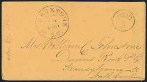 Sale Number 1230, Lot Number 1490, Confederate Postmasters' ProvisionalsGeorgetown S.C., 5c Black entire (28XU1), Georgetown S.C., 5c Black entire (28XU1)