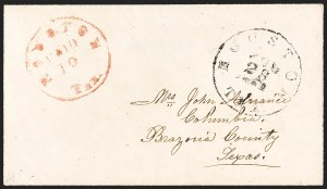 Sale Number 1230, Lot Number 1491, Confederate Postmasters' ProvisionalsHouston Tex., 10c Red entire (40XU2), Houston Tex., 10c Red entire (40XU2)