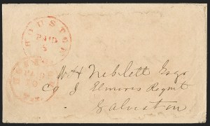 Sale Number 1230, Lot Number 1492, Confederate Postmasters' ProvisionalsHouston Tex., 5c + 10c Red entire (40XU4), Houston Tex., 5c + 10c Red entire (40XU4)