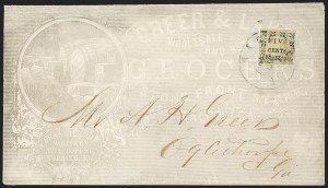 Sale Number 1230, Lot Number 1493, Confederate Postmasters' ProvisionalsMacon Ga., 5c Black on Yellow Wove (53X3), Macon Ga., 5c Black on Yellow Wove (53X3)