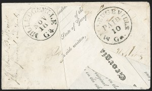 Sale Number 1230, Lot Number 1494, Confederate Postmasters' ProvisionalsMilledgeville Ga., 10c Black entire (57XU5), Milledgeville Ga., 10c Black entire (57XU5)