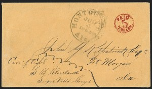 Sale Number 1230, Lot Number 1496, Confederate Postmasters' ProvisionalsMontgomery Ala., 5c Red entire (59XU1), Montgomery Ala., 5c Red entire (59XU1)