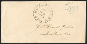 Sale Number 1230, Lot Number 1497, Confederate Postmasters' ProvisionalsMontgomery Ala., 10c Blue entire (59XU4), Montgomery Ala., 10c Blue entire (59XU4)