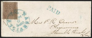 Sale Number 1230, Lot Number 1499, Confederate Postmasters' ProvisionalsNashville Tenn., 5c Violet Brown (61X5), Nashville Tenn., 5c Violet Brown (61X5)