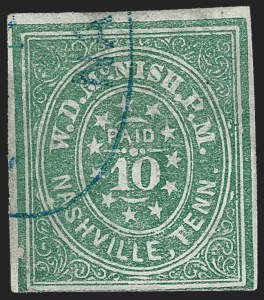 Sale Number 1230, Lot Number 1500, Confederate Postmasters' ProvisionalsNashville Tenn., 10c Green (61X6), Nashville Tenn., 10c Green (61X6)