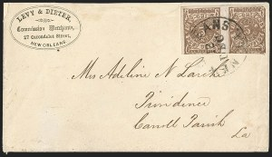 Sale Number 1230, Lot Number 1504, Confederate Postmasters' ProvisionalsNew Orleans La., 5c Yellow Brown on Off-White (62X5), New Orleans La., 5c Yellow Brown on Off-White (62X5)