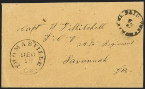 Sale Number 1230, Lot Number 1507, Confederate Postmasters' ProvisionalsThomasville Ga., 5c Black entire (82XU2), Thomasville Ga., 5c Black entire (82XU2)