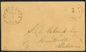 Sale Number 1230, Lot Number 1508, Confederate Postmasters' ProvisionalsTuscumbia Ala., 5c Black entire (84XU1), Tuscumbia Ala., 5c Black entire (84XU1)