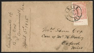Sale Number 1230, Lot Number 1539, Confederate General Issues and Covers, College Covers10c Rose (5), 10c Rose (5)