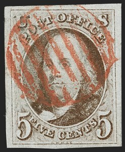 Sale Number 1230, Lot Number 1691, 1847 Issue (Scott 1-2)5c Red Brown (1), 5c Red Brown (1)