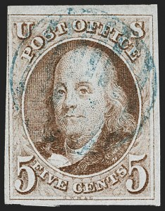 Sale Number 1230, Lot Number 1692, 1847 Issue (Scott 1-2)5c Red Brown (1), 5c Red Brown (1)